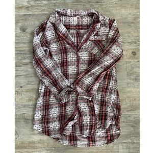 VICTORIA'S SECRET Plaid Dot Flannel Sleep Dress